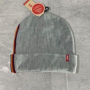Levi's Side Stripe Foldover Cuff Knit Logo Beanie